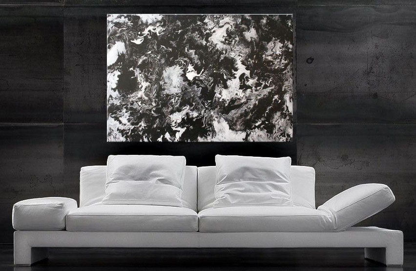 acrylbild schwarz -weiss