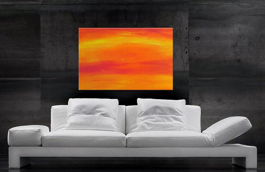 Acrylgemälde in Orange 100 x 70 cm