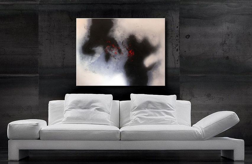 acrylgemälde in schwarz-weiss 100 x 80 cm