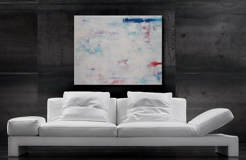Wunderschönes Burk Art-Gemälde, 100x80cm, schöne Türkis-, Rot-, und Blautöne im Kontrast zu Weiß
