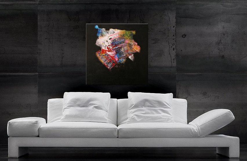 Gemälde kaufen-Acrylbild modern-verschiedene Farben, schwarzer Hintergrund