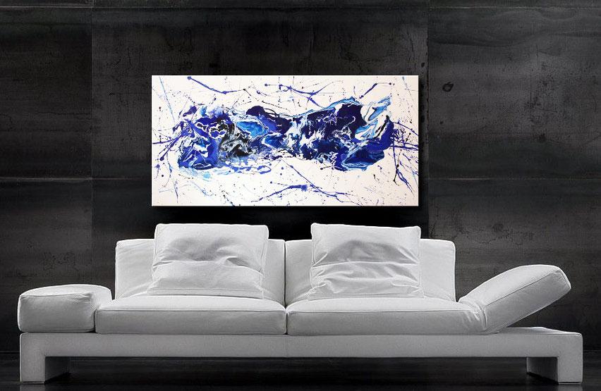 Abstraktes Fluid Art Gemälde mit blauen Farbverläufen, 120 x 60 cm