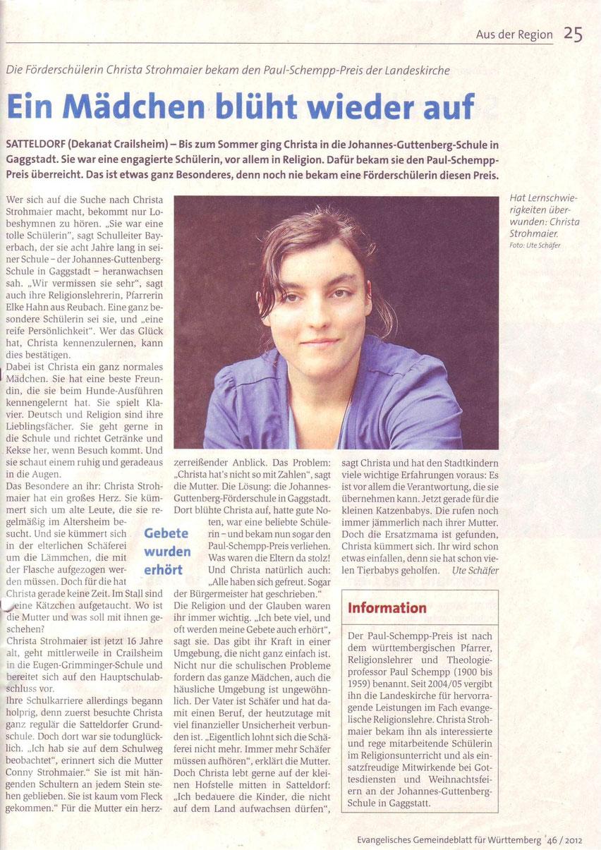Ute Schäfer, Evangelisches Gemeindeblatt für Württemberg 46 / 2012, S. 25 (Wiedergabe mit freundlicher Genehmigung)