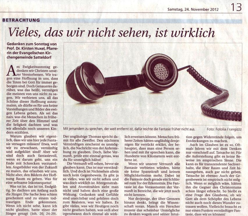Hohenloher Tagblatt, 24. November 2012, S. 13