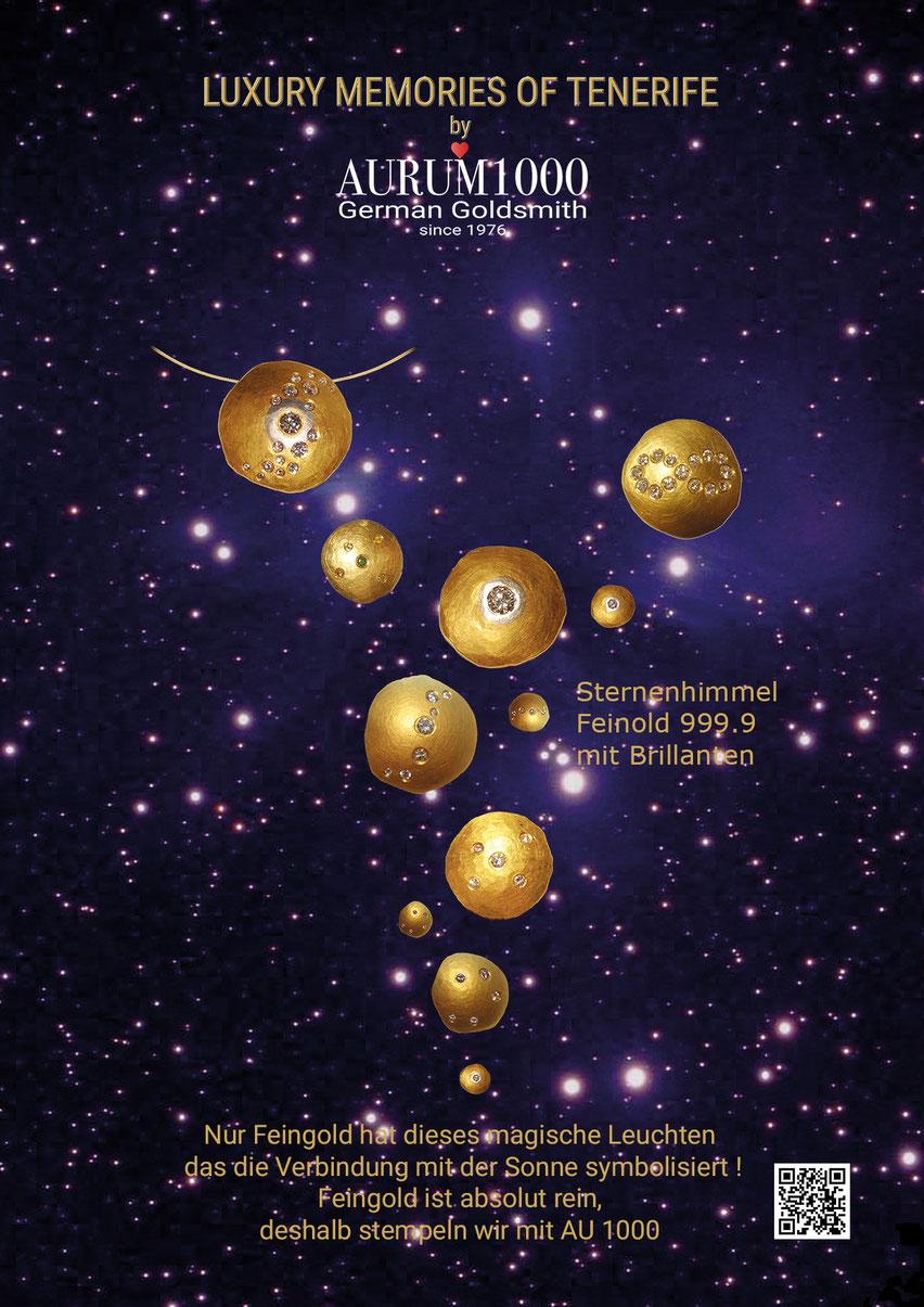 Schmuck vom Feingoldspezialisten Nr.1, aussergewöhnlicher Schmuck aus Feingold 999, Sternenhimmel