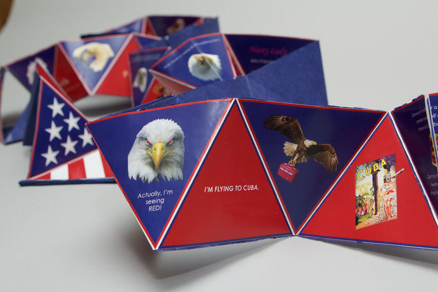Donald Trump and the Bald Eagle, 2016, unique, accordion book on paper,  11.9cm high, 13.65cm long (closed), 8.19m long (open)