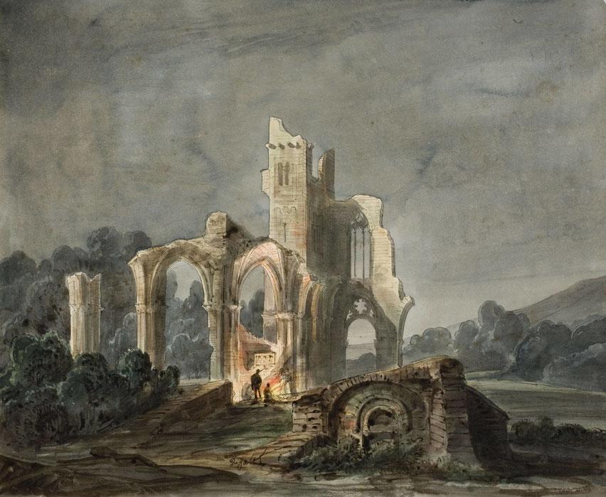 "Luis Rigalt y Farriols, ""Paesaggio notturno con rovine gotiche"" (1850 ca.)"