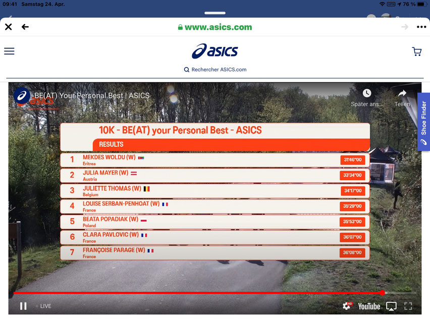 Julia Mayer Austria ASICS 10km beat your personal best 2. platz Bestzeit Frankreich Morton Julien Wanders Dsg wien bad Fischau