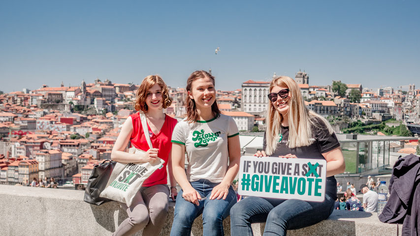 Members of 'Give A Vote' in Porto