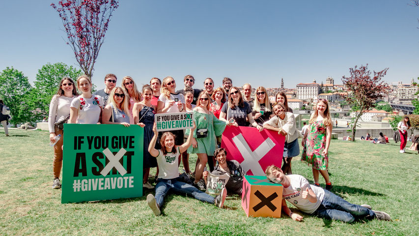 A group picture of members of 'Give A Vote' in Porto