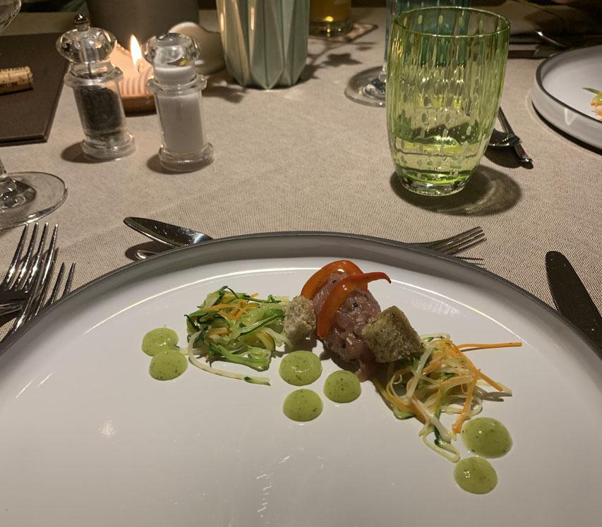 Vorspeise am Abend im Restaurant des Hotel Belvedere in Jenesien
