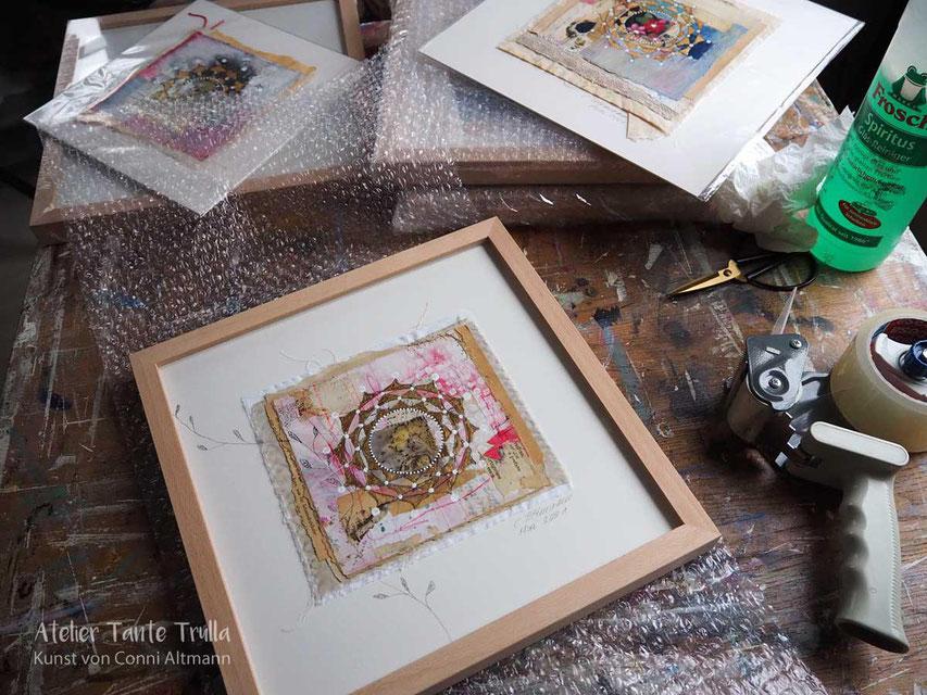 kleines Mandala-Gemälde mit Blattgold, www.ateliertantetrulla.de