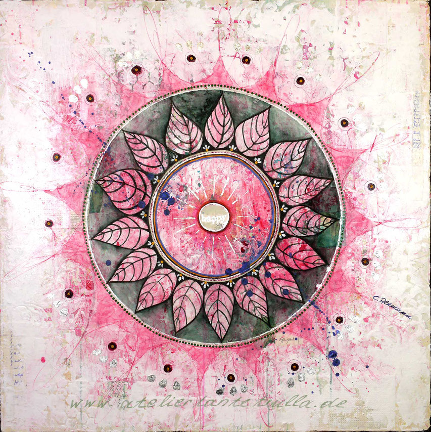 Mixed Media Mandala mit Blattsilber happy rosa grün