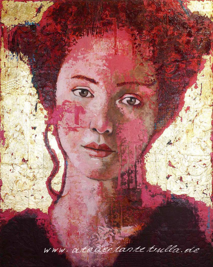 Mixed Media Gemaelde Gesicht Frau mit roten Haaren und Blattgold
