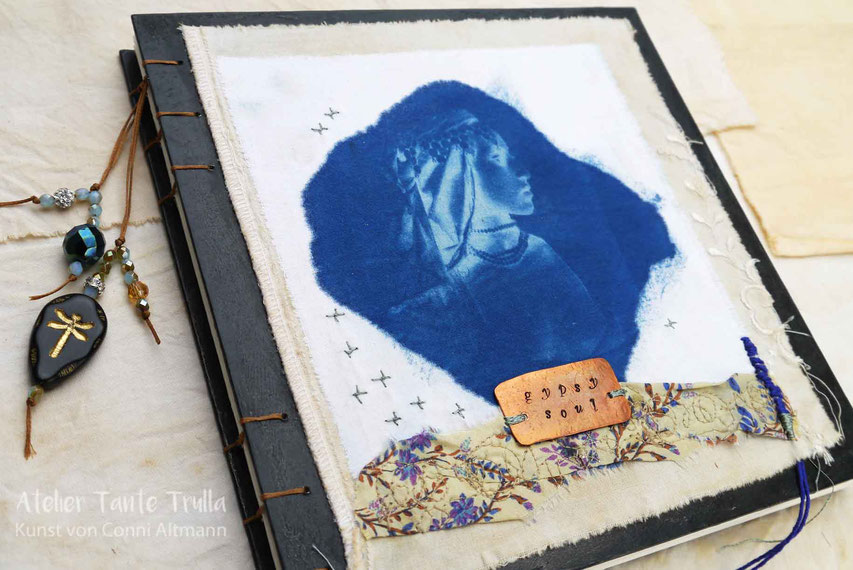 "handmade book ""Gypsy Soul"" with cyanotype print on fabric, glass beads and copper label by Conni Altmann"