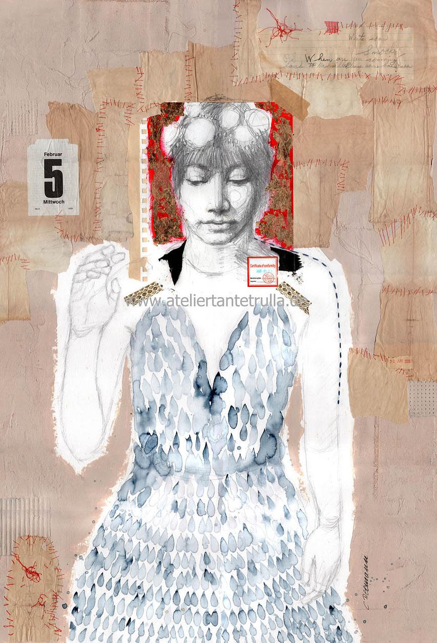 Mixed Media Gemaelde Zeichnung Frau mit Blattgold, Collage, Papier nähen