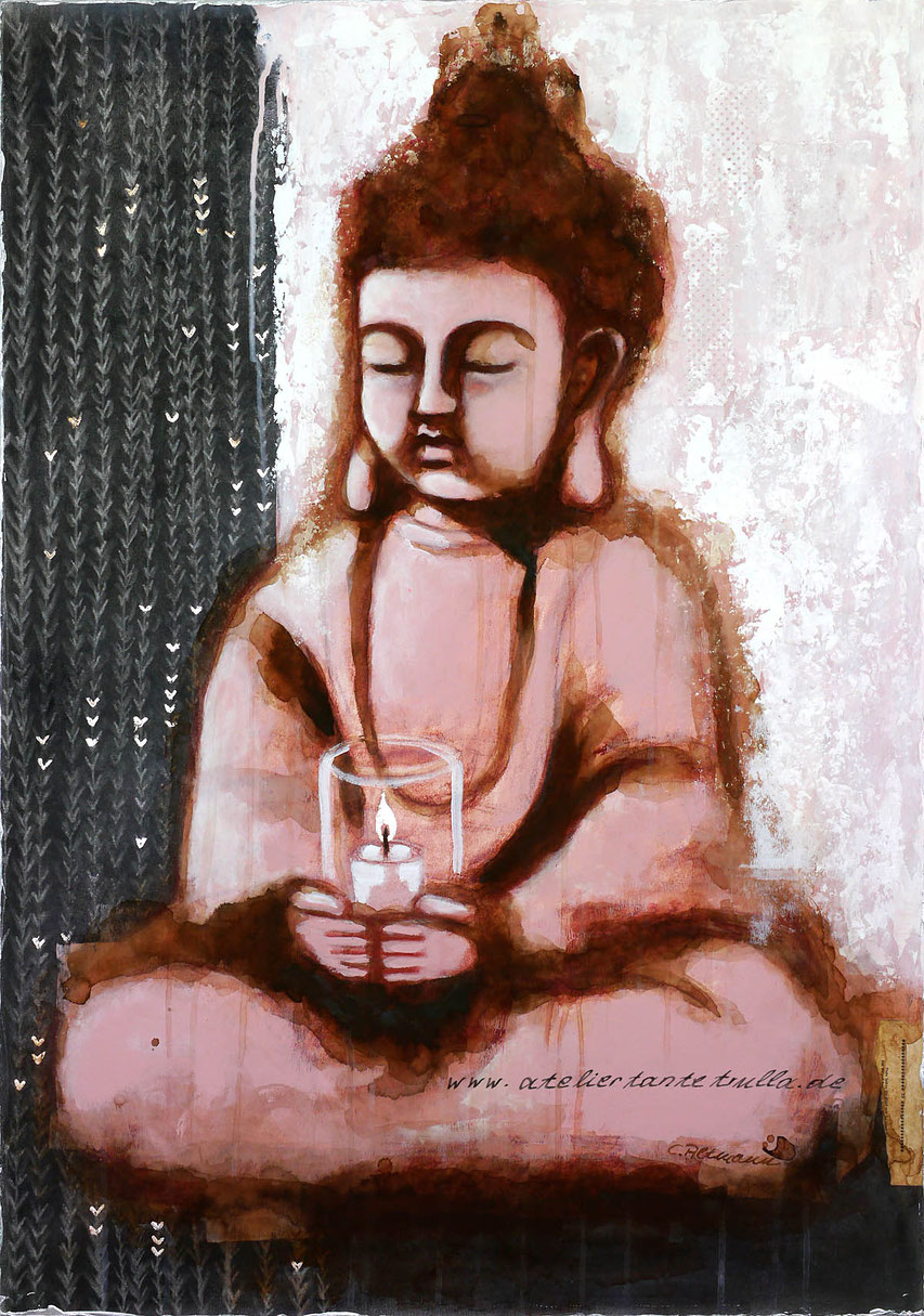 Mixed Media Gemaelde Buddha mit Kerze