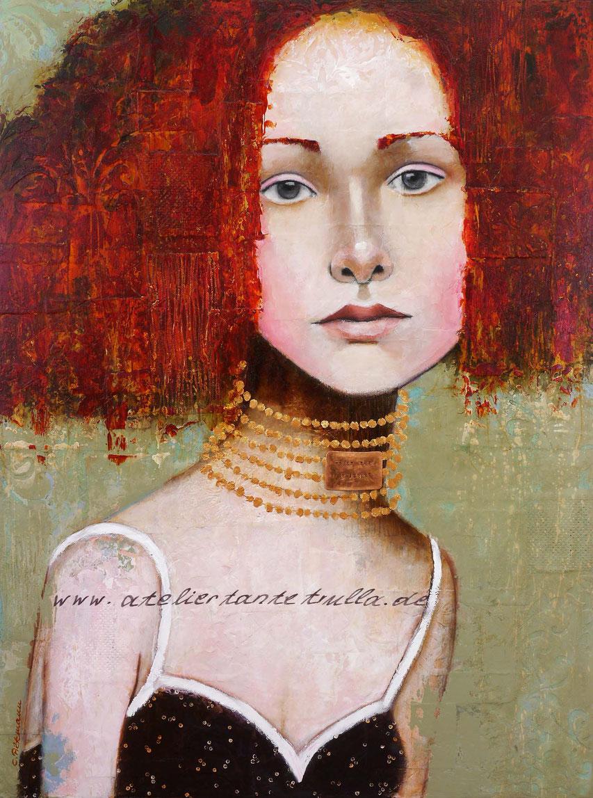 Mixed Media Gemaelde Gesicht Frau mit roten Haaren und goldenem Schmuck