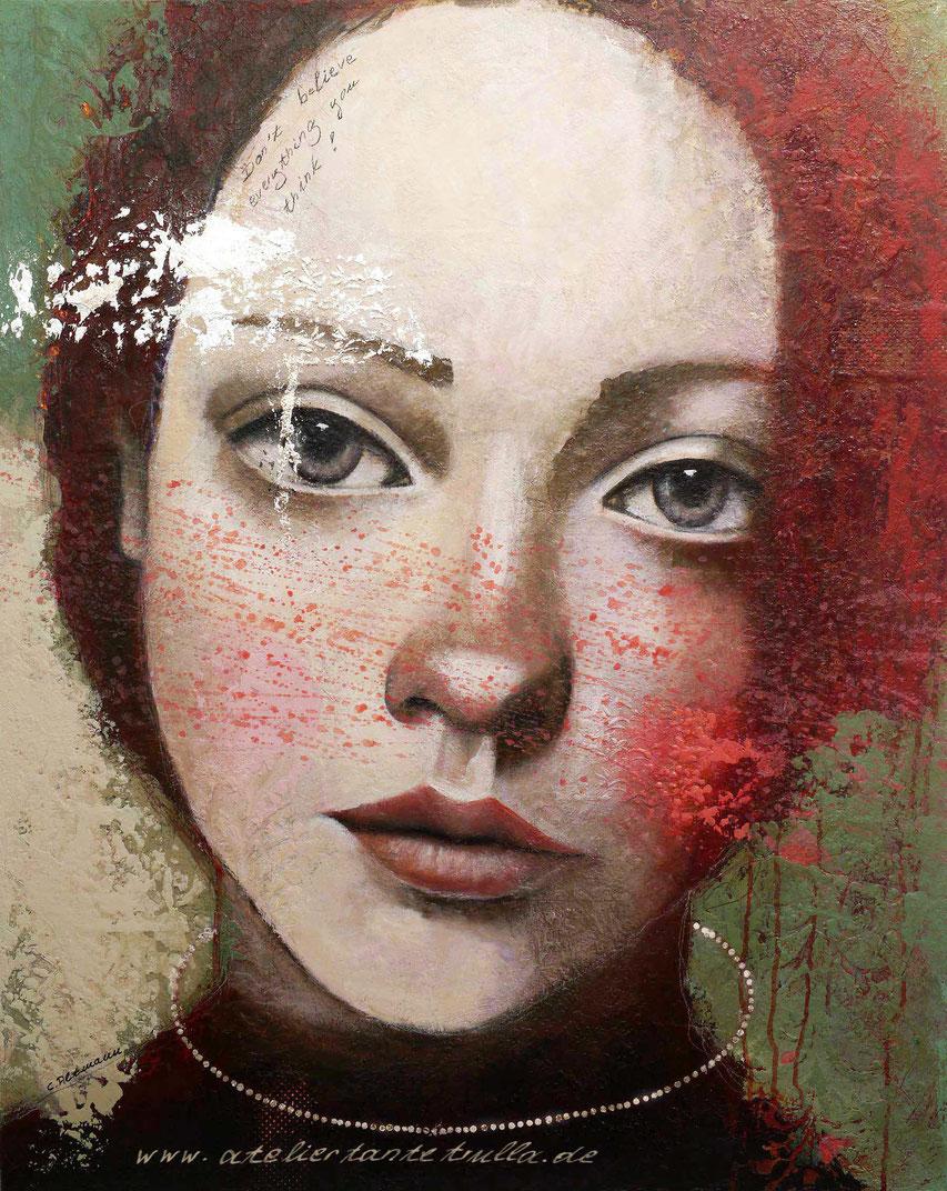 Mixed Media Gemaelde Gesicht Frau mit roten Haaren und Blattsilber