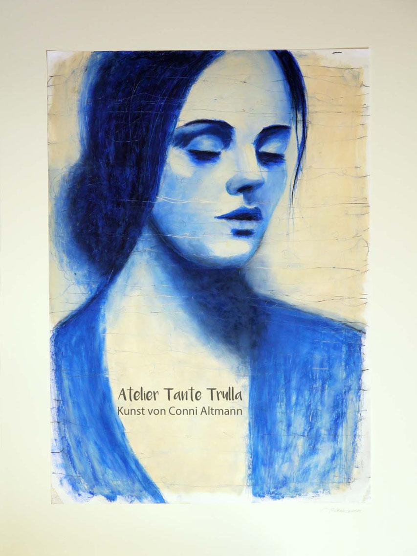 blaues Gemälde Portrait Frau