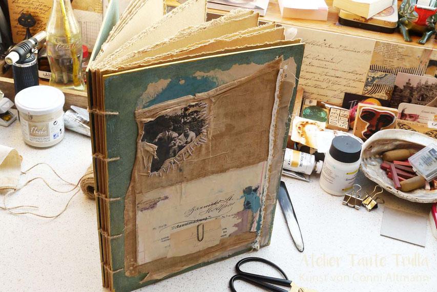 handgemachtes Buch mit Collage koptischer Stich
