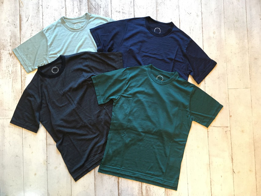 山と道(ヤマトミチ) Light Merino Crew Neck T-Shirt 各¥8,500(+TAX)
