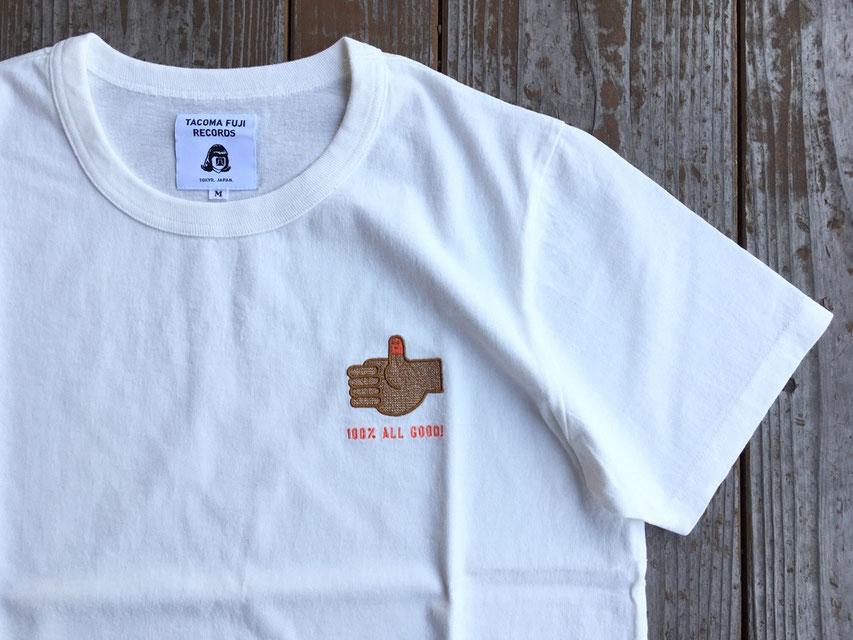 TACOMA FUJI RECOARDS(タコマフジレコード) 100% ALL GOOD ! Embroidery Tee designed by Akinobu Maeda ¥5,800(+TAX)