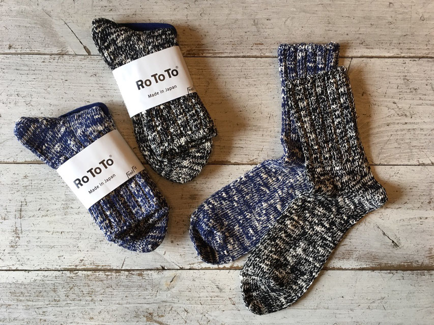 RoToTo(ロトト) LOW GAUGE SLUB SOCKS 各¥1,600(+TAX)