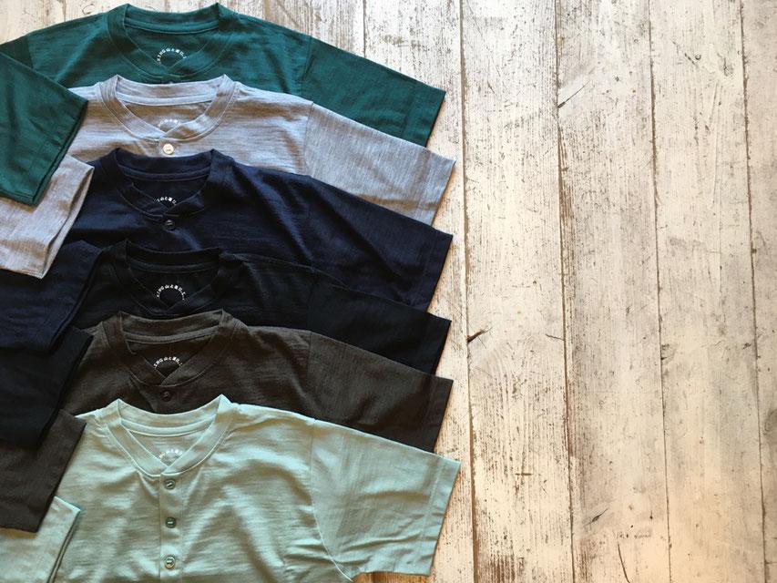 山と道(ヤマトミチ) Merino Henry Neck T-Shirt 各¥9,000(+TAX)