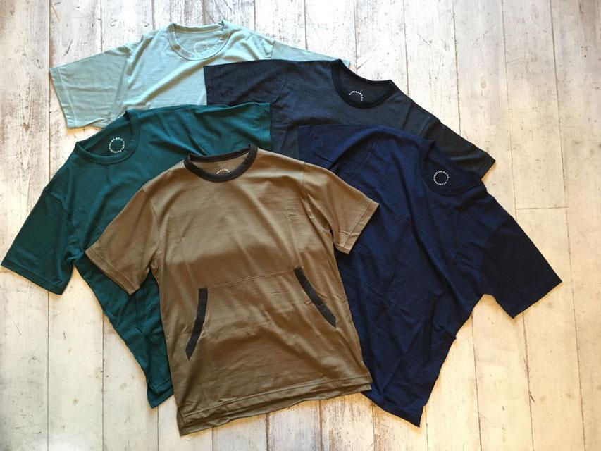 山と道(ヤマトミチ) Light Meirno Kangaroo Pocket T-Shirt 各¥9,500(+TAX)
