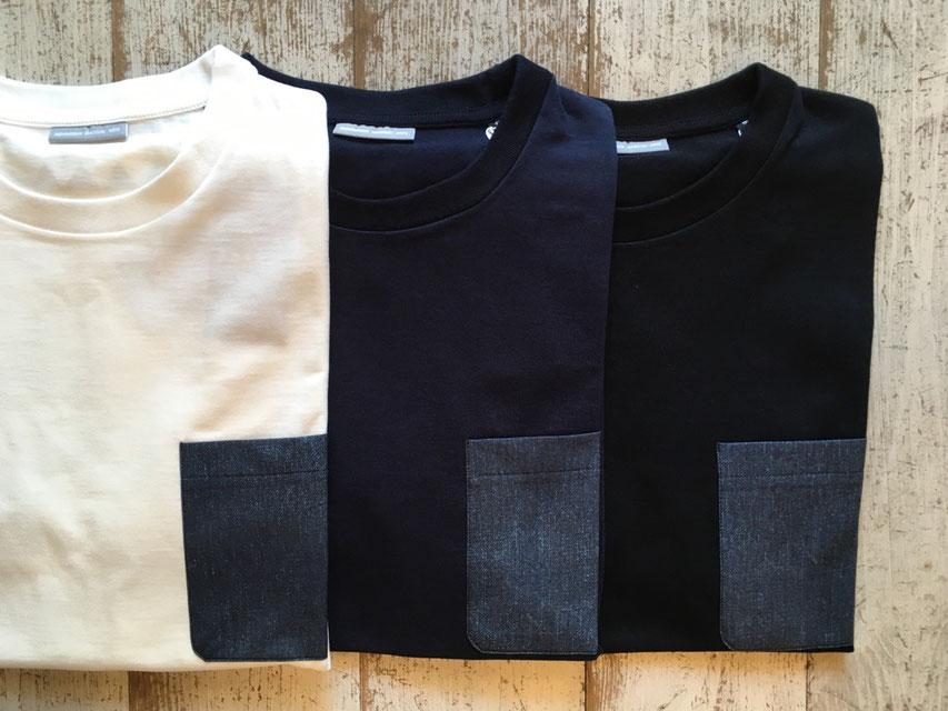 Sサイズ(Denim)※左からWhite、Navy、Blackの3カラー展開