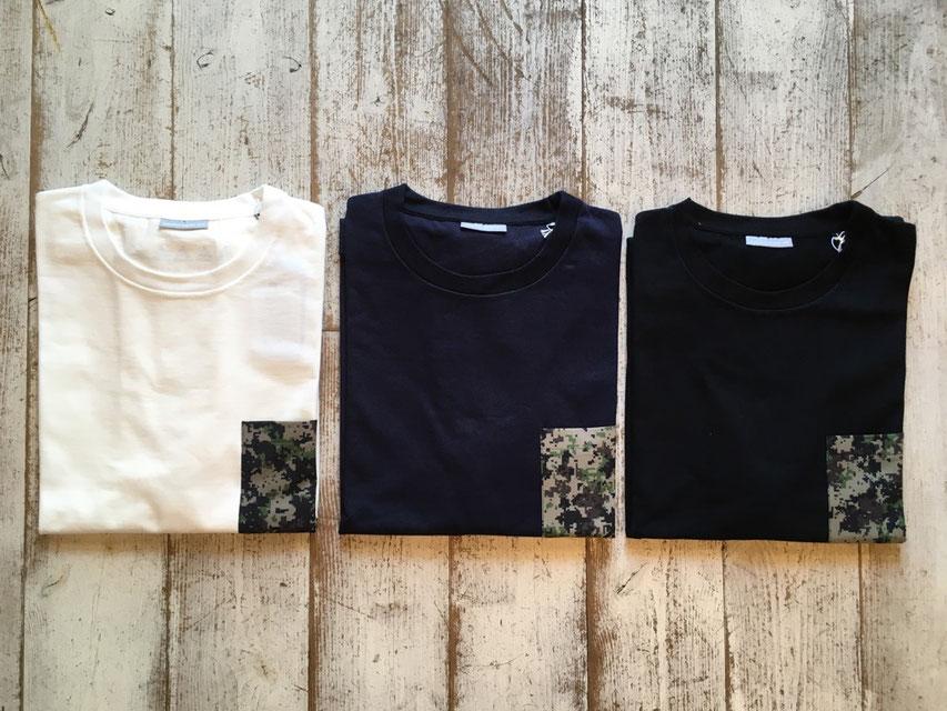 Lサイズ(Digital Wood Camo) 左からWhite、Navy、Blackの3カラー展開