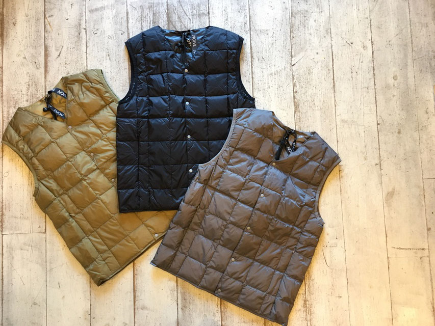 TAION(タイオン) V Neck Buttun Down Vest 各¥3,900(+TAX)