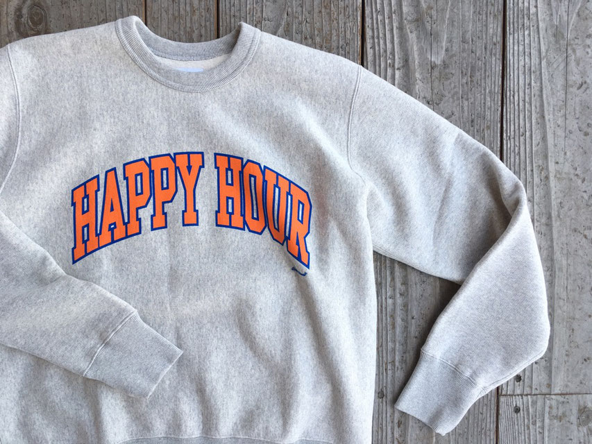 TACOMA FUJI RECORDS(タコマフジレコード) HAPPY HOUR COLLEGE LOGO SWEAT SHIRT designed by Shuntaro Watanabe ¥15,000(+TAX)