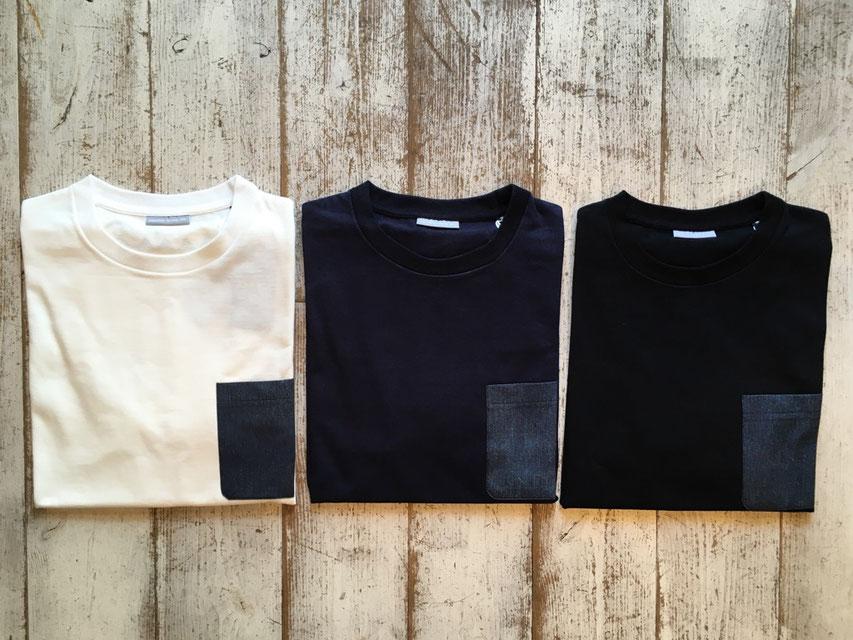 Sサイズ(Denim) 左からWhite、Navy、Blackの3カラー展開