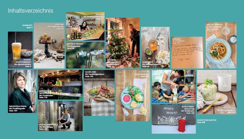 Inhaltsverzeichnis Kochbuch Sonja buchhop edition limosa GmbH Verlag kulinarische Weihnachtsreise Pi mal Butter Mädchenvöllerei Saarland Bundesländer Rezepte