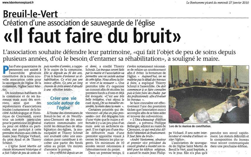 27 janvier 2010 - Création d'une association de sauvegarde de l'église de Breuil le Vert.