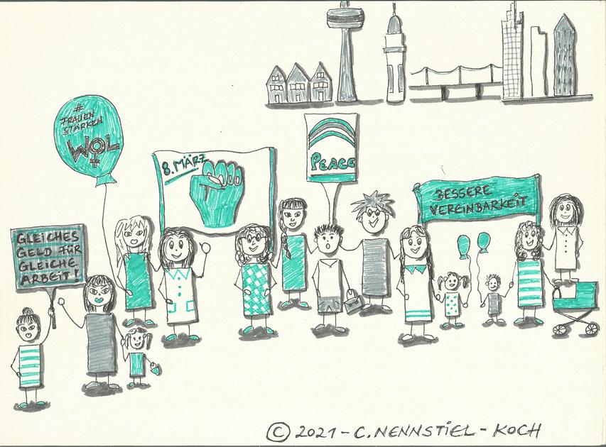 Sketchnote von C. Nennstiel-Koch zum Internationalen Frauentag 2021