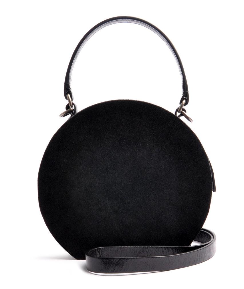 Damen Ledertasche rund Retro Look GRETA schwarz Handarbeit  OSTWALD Traditional Craft