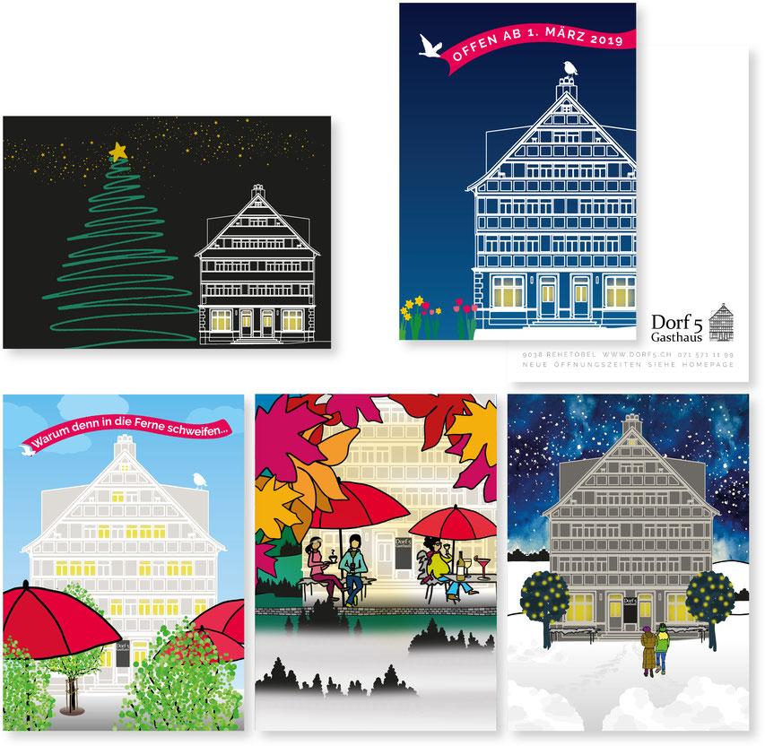 Illustration von Anja Piffaretti, creative-island.ch: Dorf 5, Postkartenserie, illustrierte Postkarten, Appenzellerhaus, Appenzellerbeiz