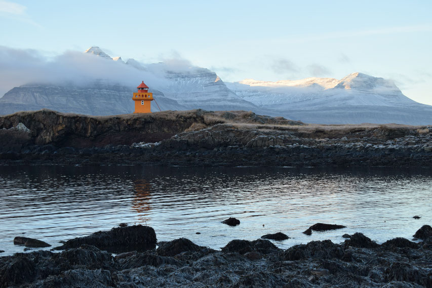 Lighthouse (Berunesviti), mountains, East Fjords, Iceland