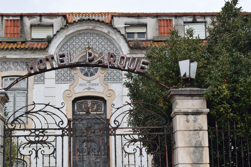 Derelict hotel parque in São Martinho do Porto, Nazare, Portugal