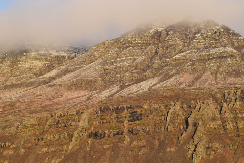 Mountains in mist, East Fjords, Iceland