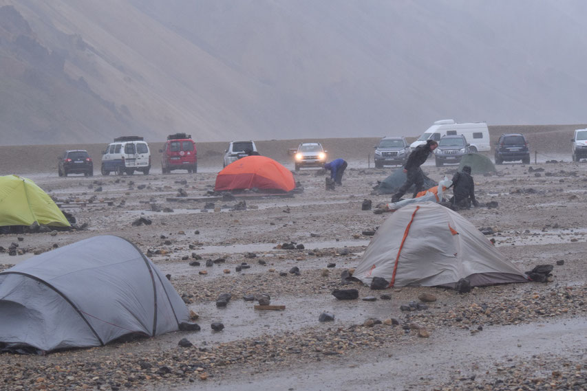 Landmannalaugar camping in bad weather