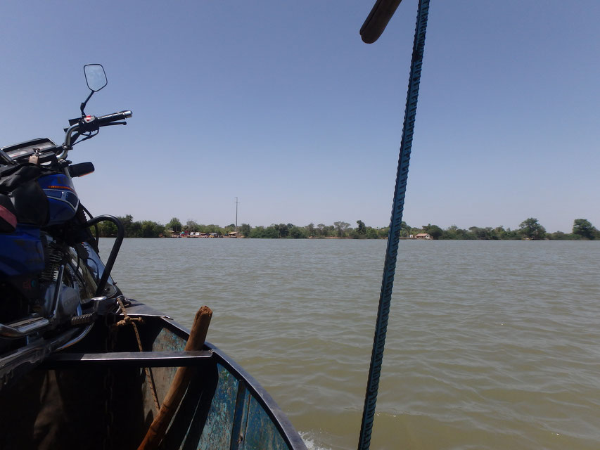 ferry with motorbike - Janjanbureh to Lamin Koto. River Gambia