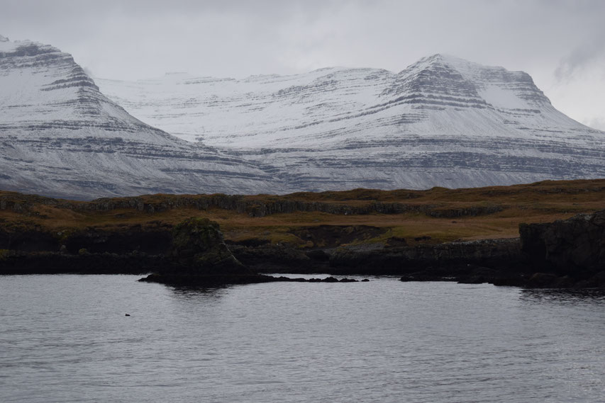 Hvítárdalur, mountains in snow, East Fjords