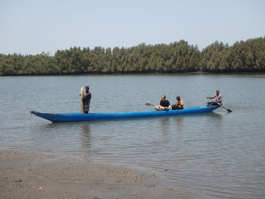 Fishing in dug-out canoe, Tumani Tenda, Gambia