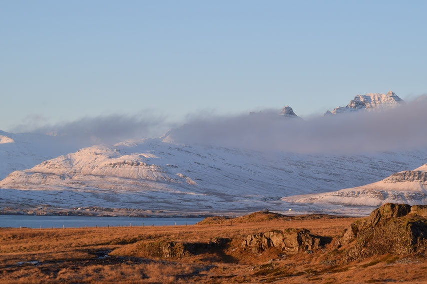 Mountains and low cloud at sunrise, East Fjords, Iceland