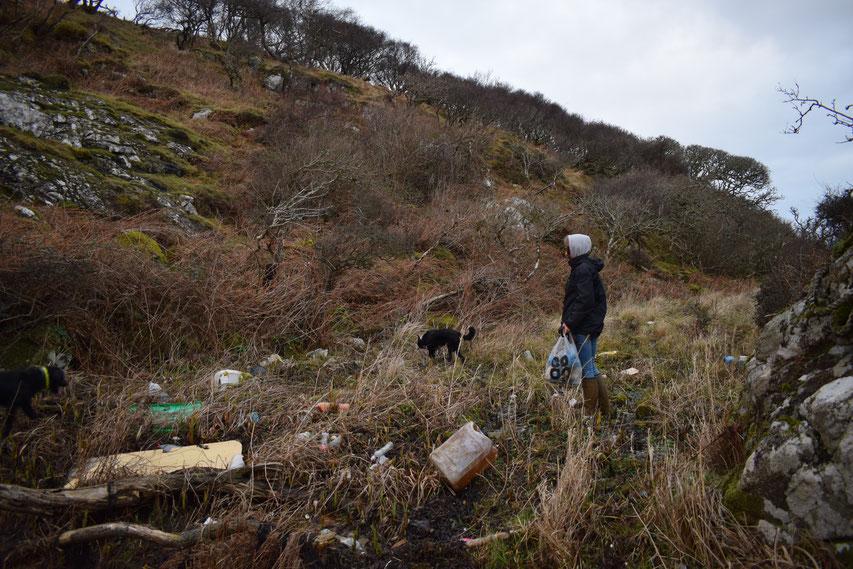 plastic pollution - beach clean on Islay, Scotland