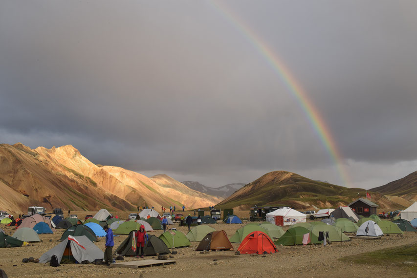 Landmannalaugar campsite in July.